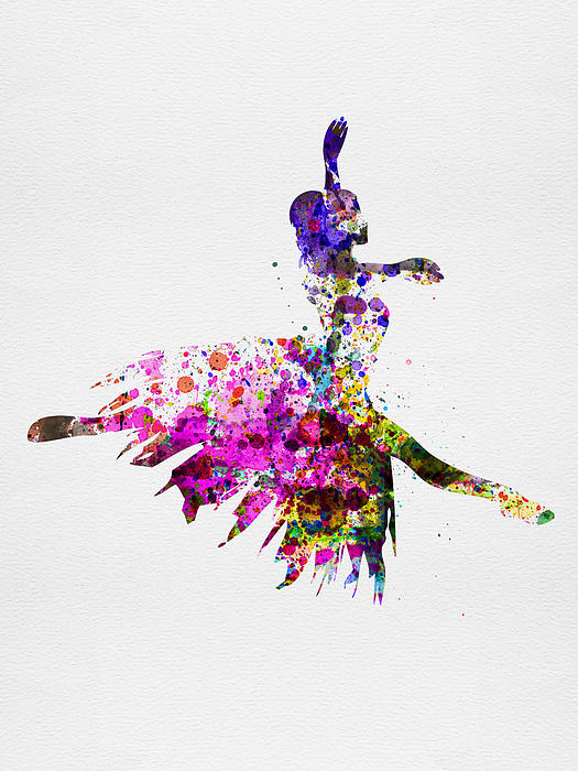 Ballerina On Stage Watercolor 4 Print by Naxart Studio