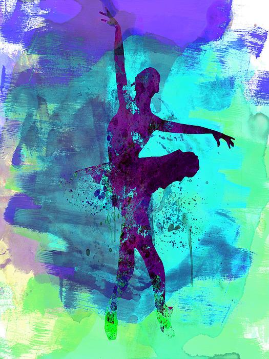 Ballerina Watercolor 4 Print by Naxart Studio