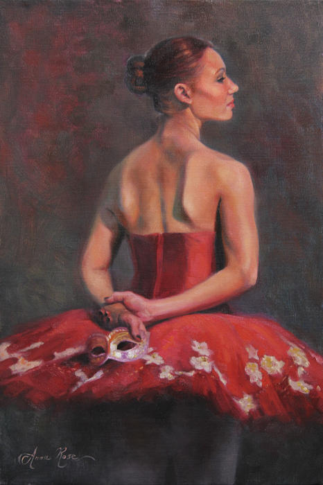 Ballerina With Mask Print by Anna Bain