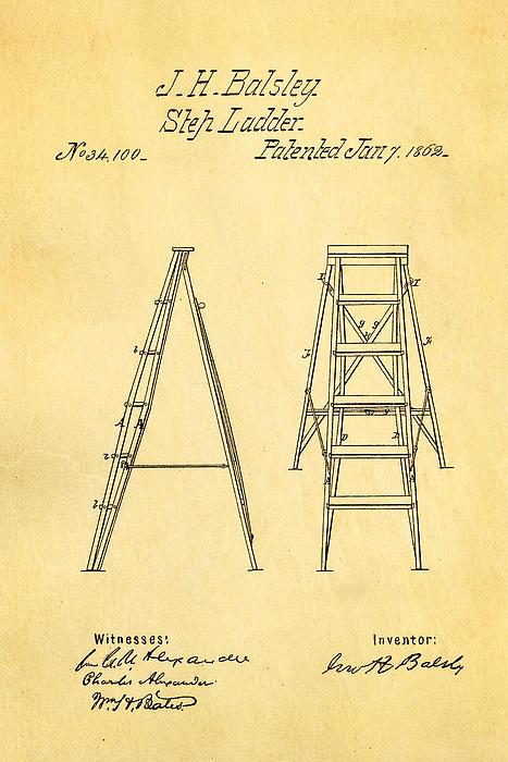 Balsley Step Ladder Patent Art 1862 Print by Ian Monk