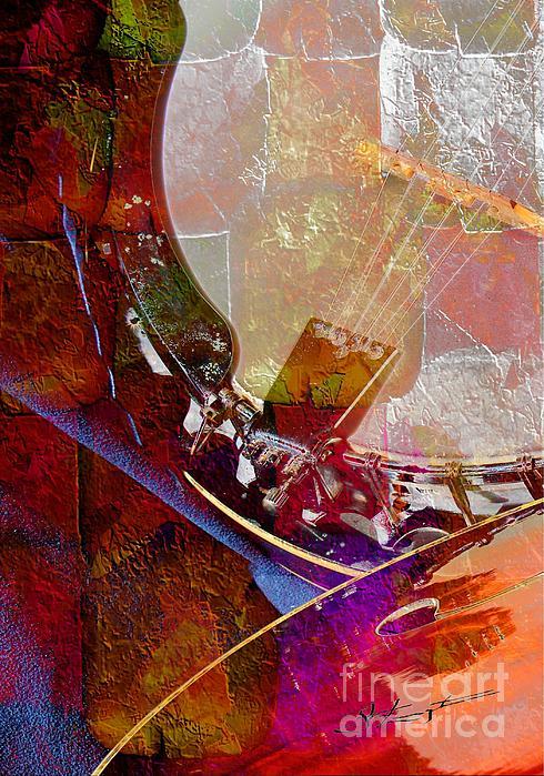 Banjo And Friend Digital Banjo And Guitar Art By Steven Langston Print by Steven Lebron Langston