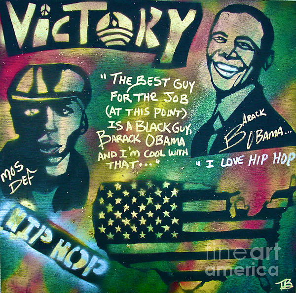 Barack And Mos Def Print by Tony B Conscious