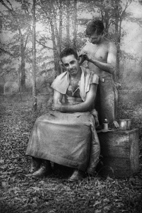 Barber - Wwii - Gi Haircut Print by Mike Savad