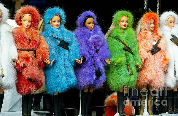 Barbie Dolls In Colored Fur Coats Print by Amy Cicconi