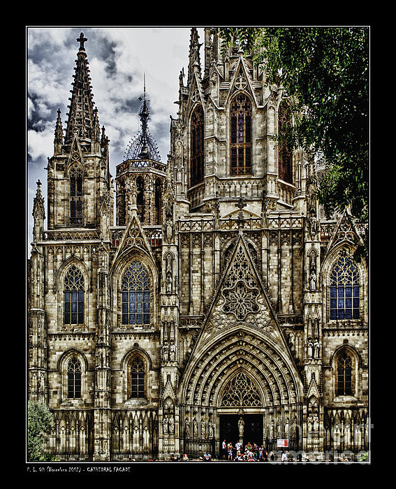 Barcelona Cathedral Facade Print by Pedro L Gili