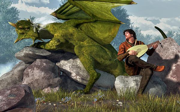 Bard And Dragon Print by Daniel Eskridge