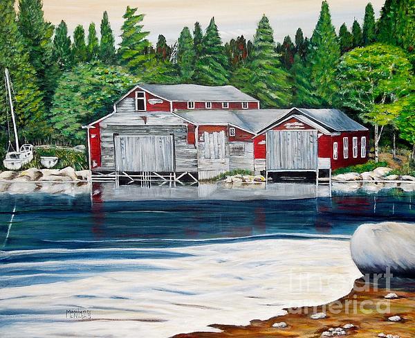 Barkhouse Boatshed Print by Marilyn  McNish