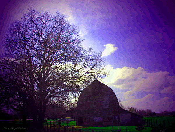 Barn And Oak Digital Painting Print by Joyce Dickens