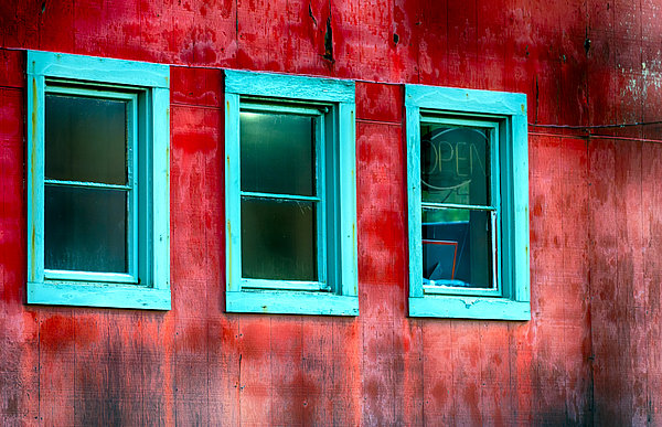 Dee Browning - Red Barn or Shop with aqua framed windows