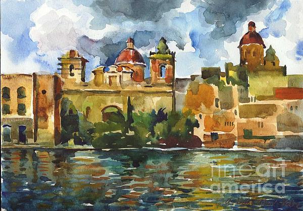 Baroque Domes And Baroque Skies Of Vittoriosa In Malta Print by Anna Lobovikov-Katz