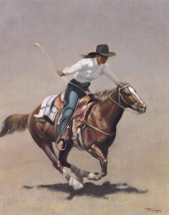 Barrel Racer Salinas Rodeo Print by Terry Guyer