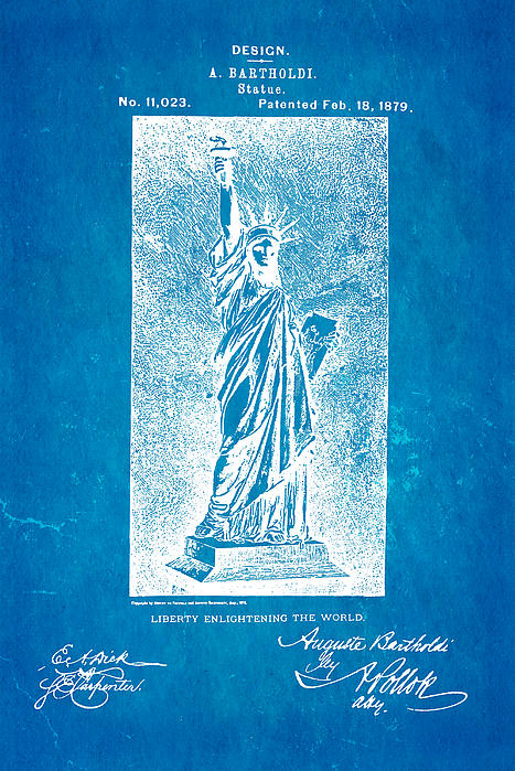 Bartholdi Statue Of Liberty Patent Art 1879 Blueprint Print by Ian Monk