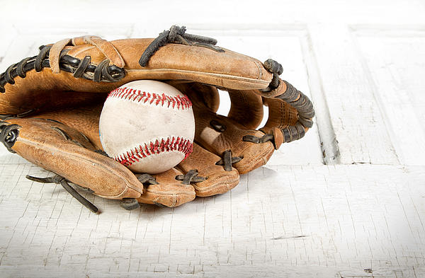 Baseball And Mitt Print by Jennifer Huls