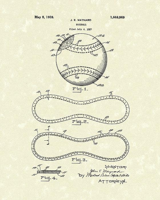Baseball By Maynard 1928 Patent Art Print by Prior Art Design