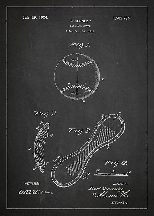Baseball Cover Patent Drawing From 1923 Print by Aged Pixel