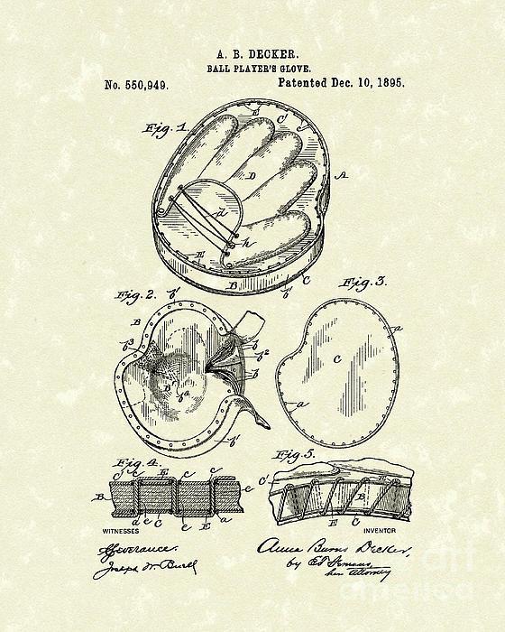 Baseball Glove 1895 Patent Art Print by Prior Art Design
