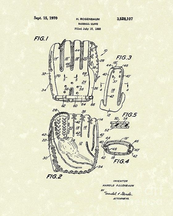 Baseball Glove 1970 Patent Art Print by Prior Art Design