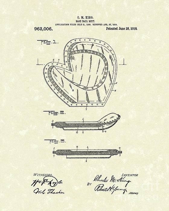 Baseball Mitt 1910 Patent Art Print by Prior Art Design