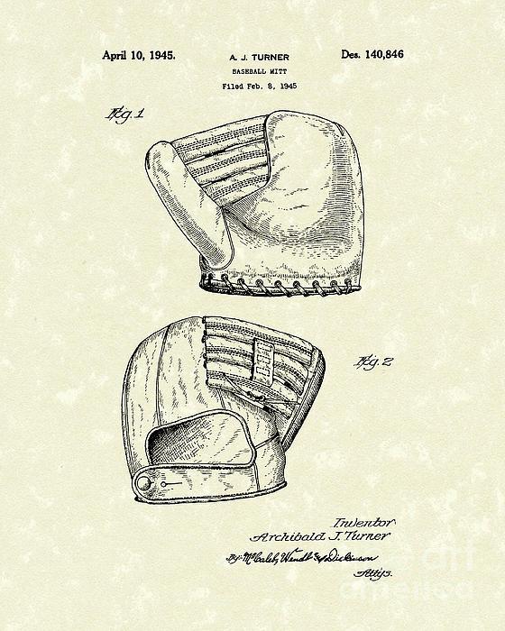 Baseball Mitt 1945 Patent Art Print by Prior Art Design