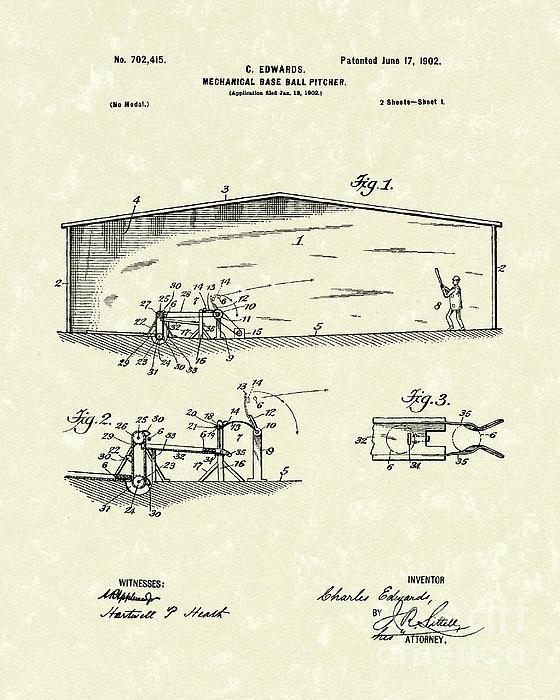 Baseball Pitcher 1902 Patent Art Print by Prior Art Design