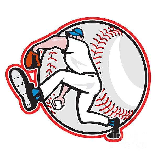 Baseball Pitcher Throw Ball Cartoon Print by Aloysius Patrimonio
