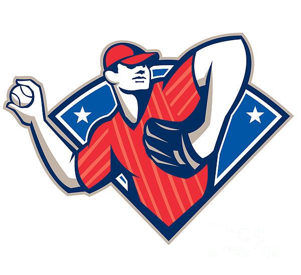 Baseball Pitcher Throwing Ball Retro Print by Aloysius Patrimonio