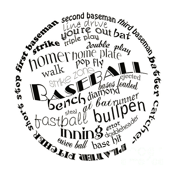 Baseball Terms Typography Black And White Print by Andee Design