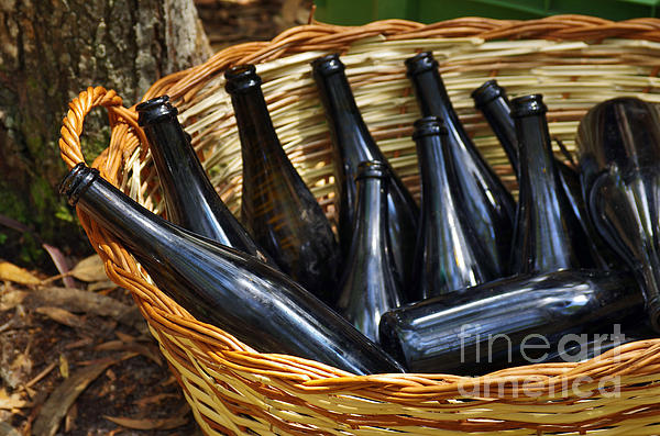 Basket With Bottles Print by Carlos Caetano
