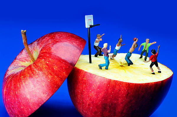 Basketball Games On The Apple Little People On Food Print by Paul Ge