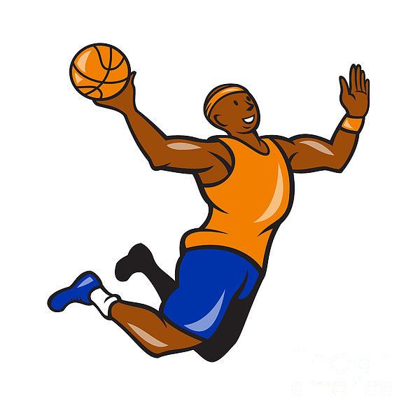 Basketball Player Dunking Ball Cartoon Print by Aloysius Patrimonio