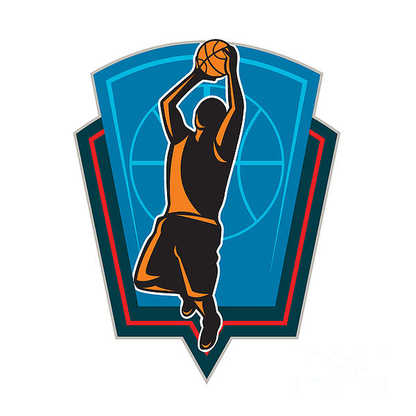 Basketball Player Rebounding Ball Shield Retro Print by Aloysius Patrimonio