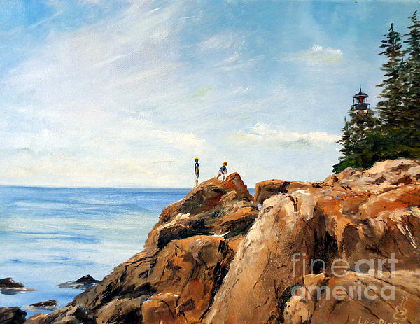 Bass Harbor Rocks Print by Lee Piper