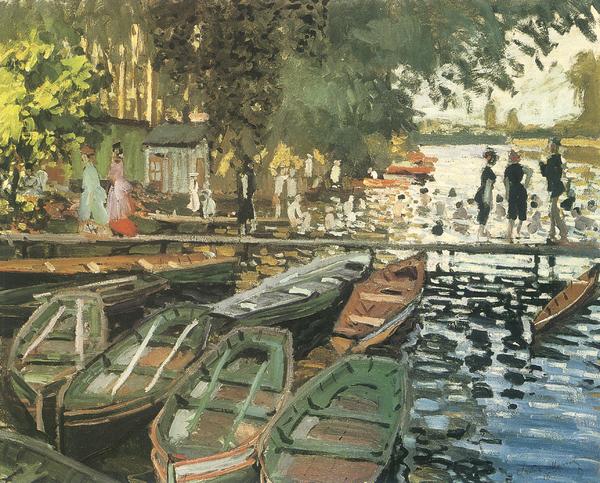 Bathers At La Crenovillere Print by Claude Monet