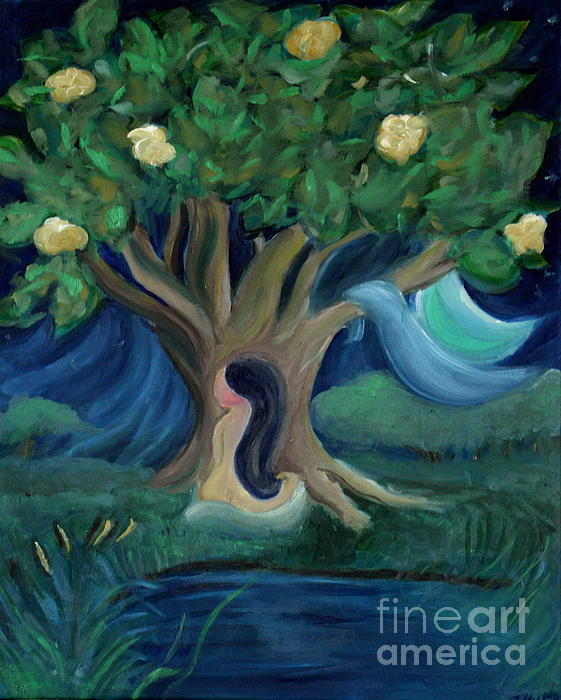 Bathing Under Magnolias Print by Teresa Hutto