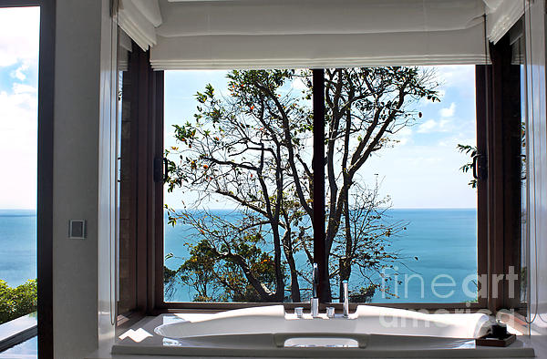 Bathroom With A View Print by Kaye Menner