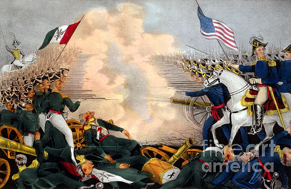 Battle Of Buena Vista Mexican-american Print by Photo Researchers