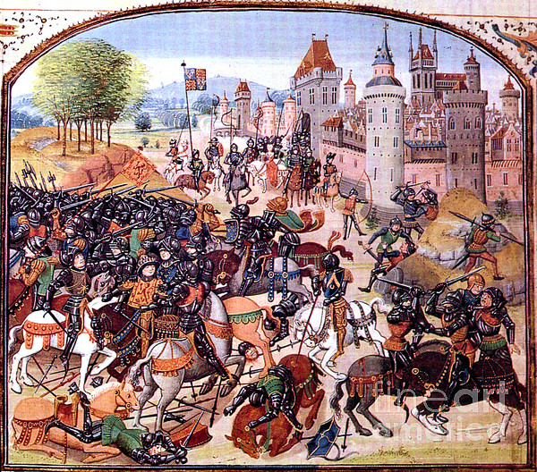 Battle Of Nevilles Cross 1346 Print by Photo Researchers