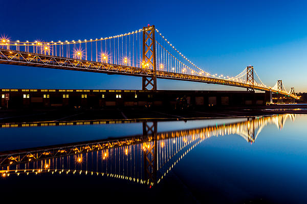 Bay Bridge Reflections Print by Dave Gordon