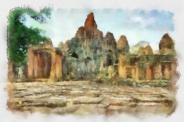 Bayon Temple Print by Teara Na