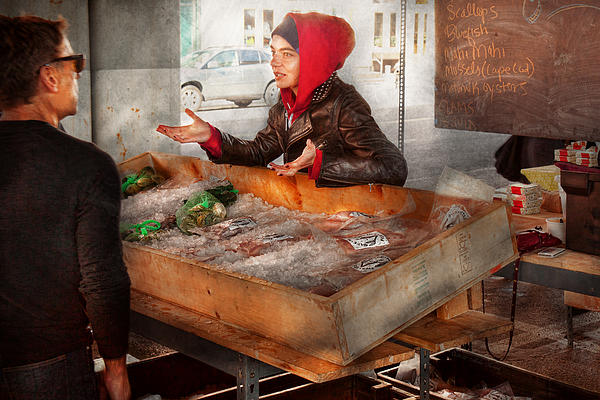 Bazaar - I Sell Fish  Print by Mike Savad