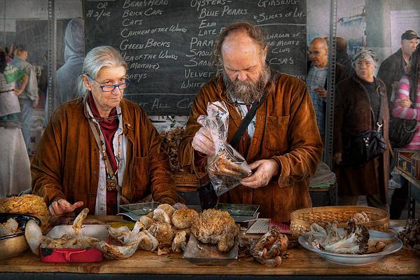 Bazaar - We Sell Fresh Mushrooms Print by Mike Savad