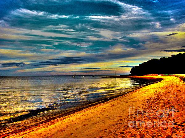 Beach And Dramatic Sky  Print by Annie Zeno