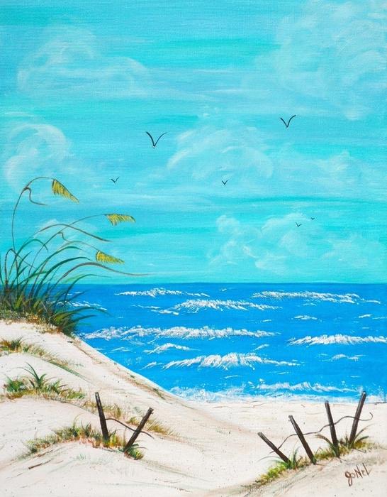 Beach Blue Print by JoNeL Art