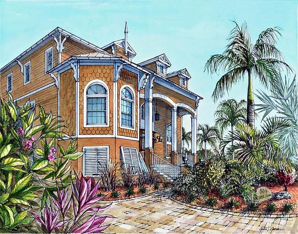 Beach House Print by Joan Garcia