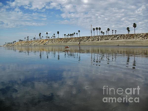 Beach Reflections Print by John Groeneveld