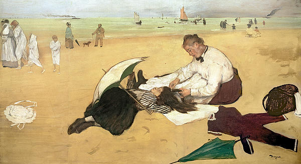 Beach Scene Little Girl Having Her Hair Combed By Her Nanny Print by Edgar Degas