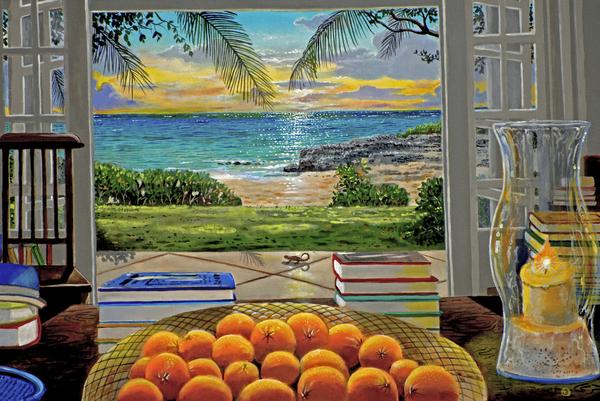 Beach View Print by Carey Chen