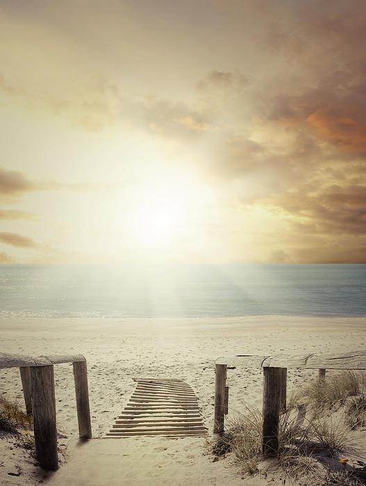 Beach Walkway Print by Les Cunliffe