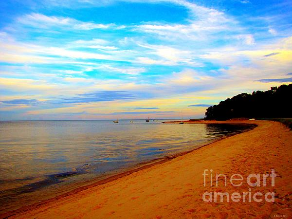 Beach With Vibrant Sky Print by Annie Zeno