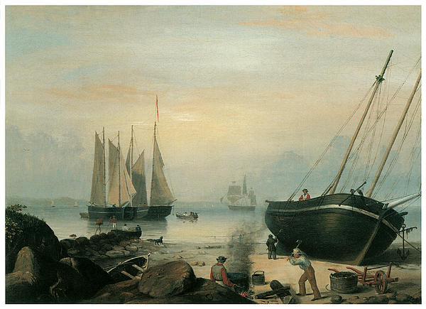 Beached For Repairs Duncan's Point Gloucester Print by Fitz Hugh Lane